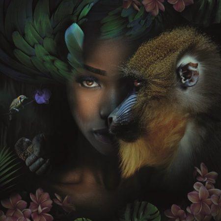 Metalen schilderij Monkey & me