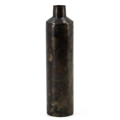 Metalen vaas 25cm. bruin - Livik meubelen